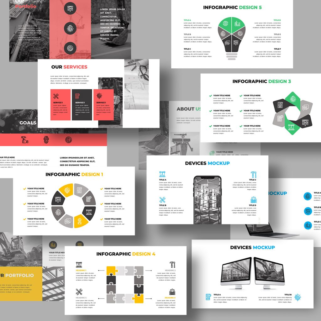 Variety of available slides in different colors and with different thematic engineering images.