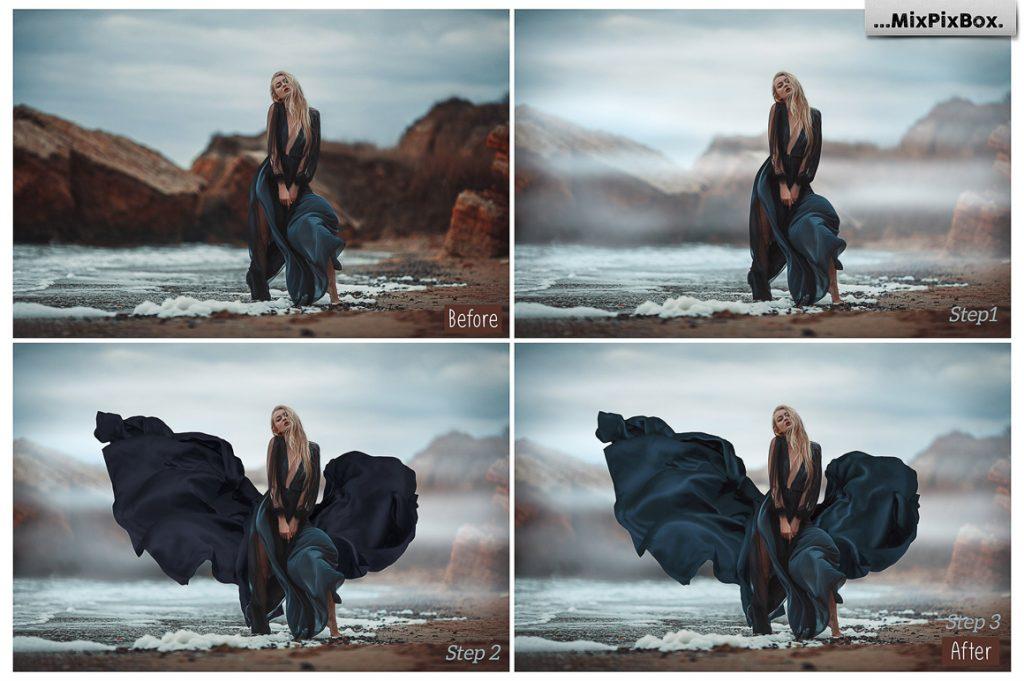 Flowing black fabric