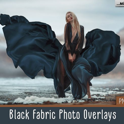 44 Flowing Fabric Overlays for Photoshop: Black Fabric PNG - 600 15 490x490