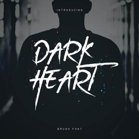 DarkHeart Brush Script Font + Extras - 600 19 490x490