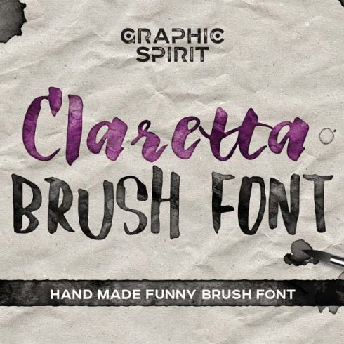 Claretta Brush Ink Font for $6 ONLY - 600 7 490x490