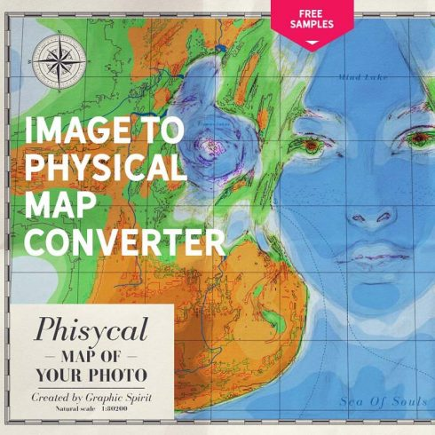 Photoshop Map Brushes & Temlates: IMAGE TO PHYSICAL MAP Converter 2020 - 600 8 490x490