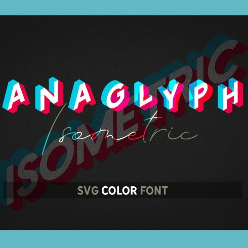 Isometric Font: Anaglyph SVG Color Font - 601 4 490x490