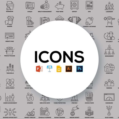 100 Business Icons in Line Style - 603 490x490