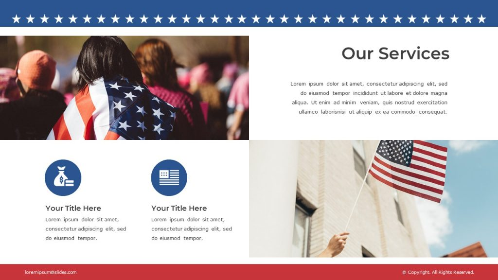 Girl with American flag, and hand with flag, text blocks are in the right and left corners.