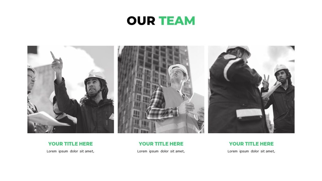 Slide with 3 black and white photos of workers in helmets and text under each of them.