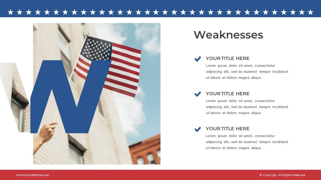 Template slide with a flag image on the left, and a text block on the right.