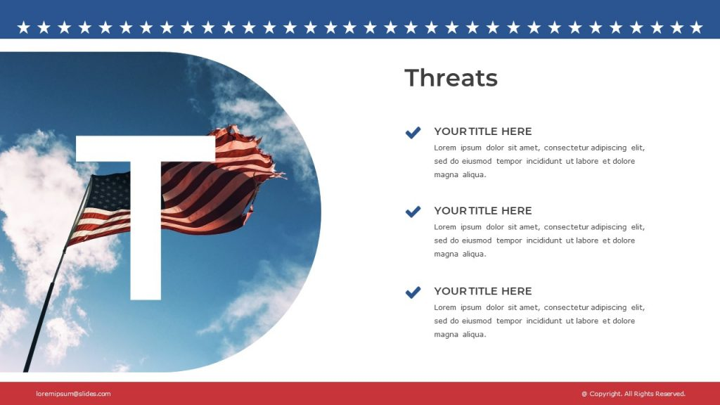 Slide with American flag in semicircular frame against the blue sky, and text blocks on the right.