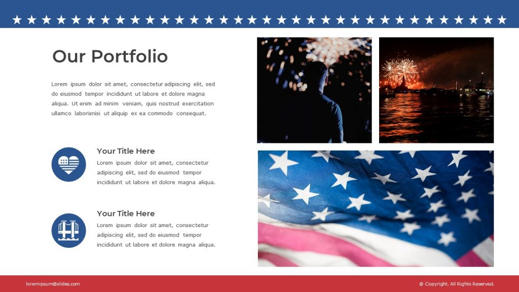 Slide with text box on the left, two icons, and three images of the American flag, and fireworks.