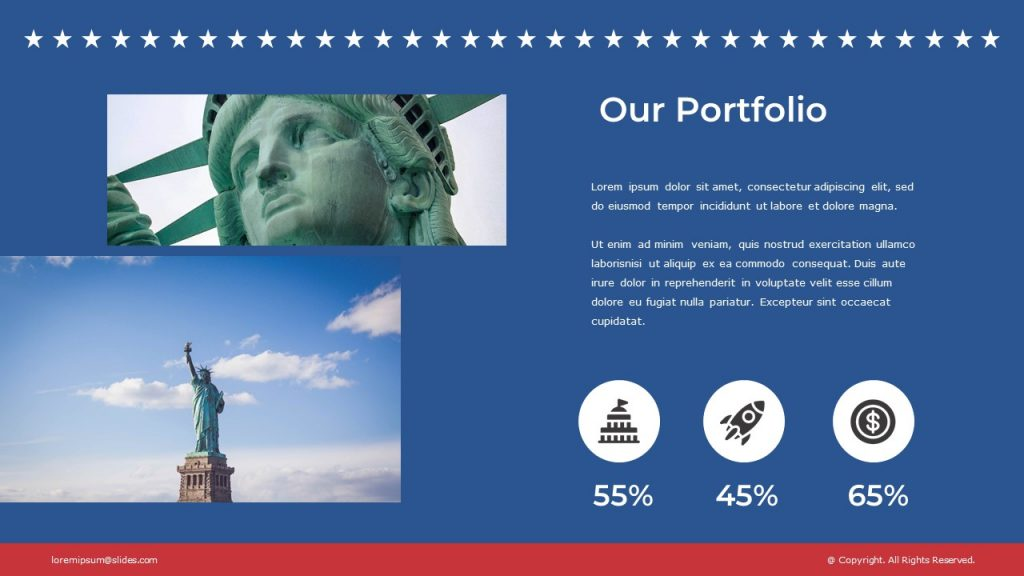 Slide on blue background with two images of Statue of Liberty, and small text box on the right.