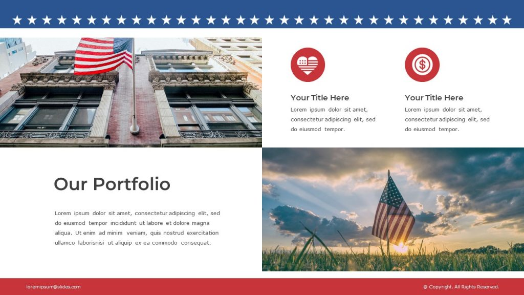 Slide with American flag images, and text blocks in the right and left corners.