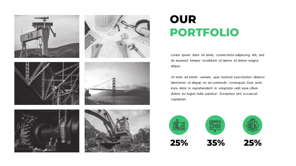 There are 6 engineering photos, on the right there is text box, and 3 green icons with percentages.