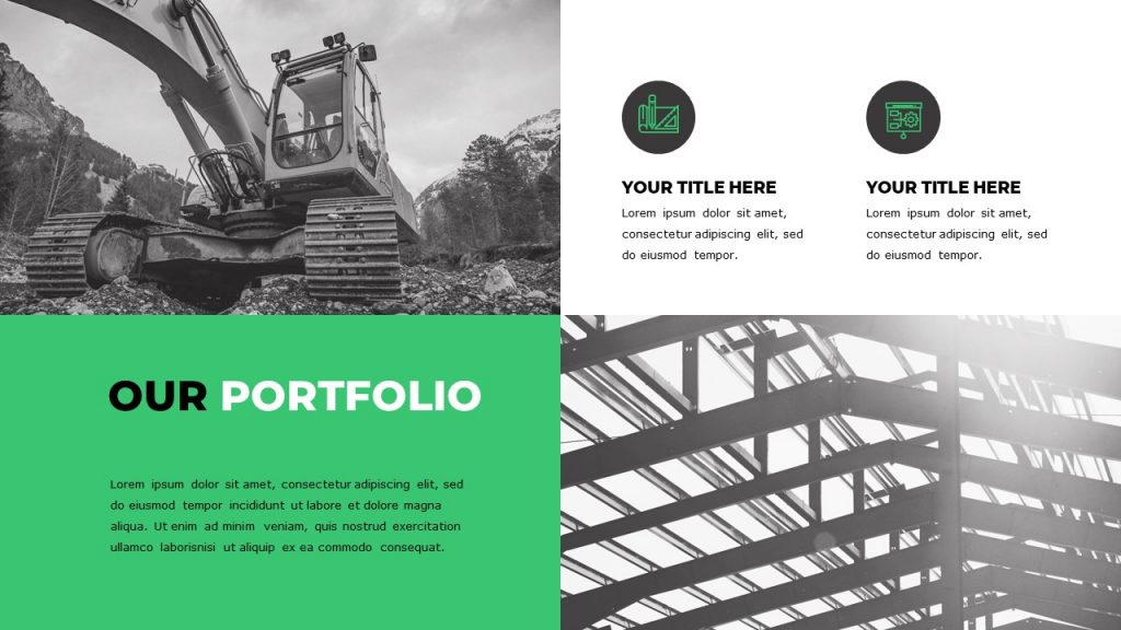 2 black-and-white tractor and engineering mounts images, text on a green background is on the left.