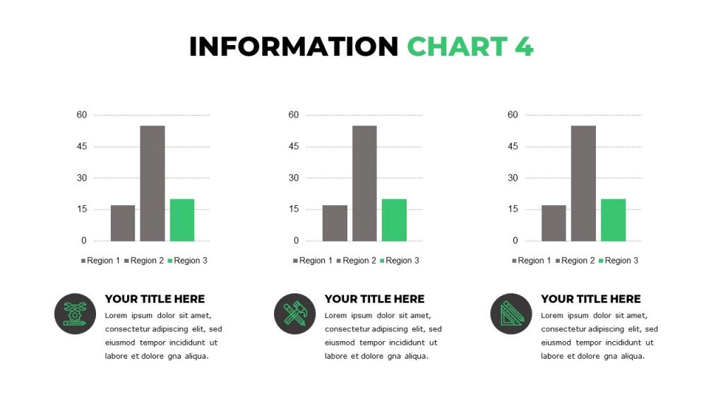 Slide with 3 bar graphs, under each text with a title and green icons in a black circle.
