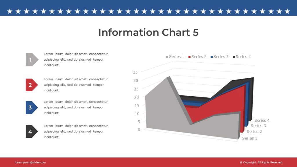 Unusual 3D chart of red, blue, grey and black with four text blocks on the left.