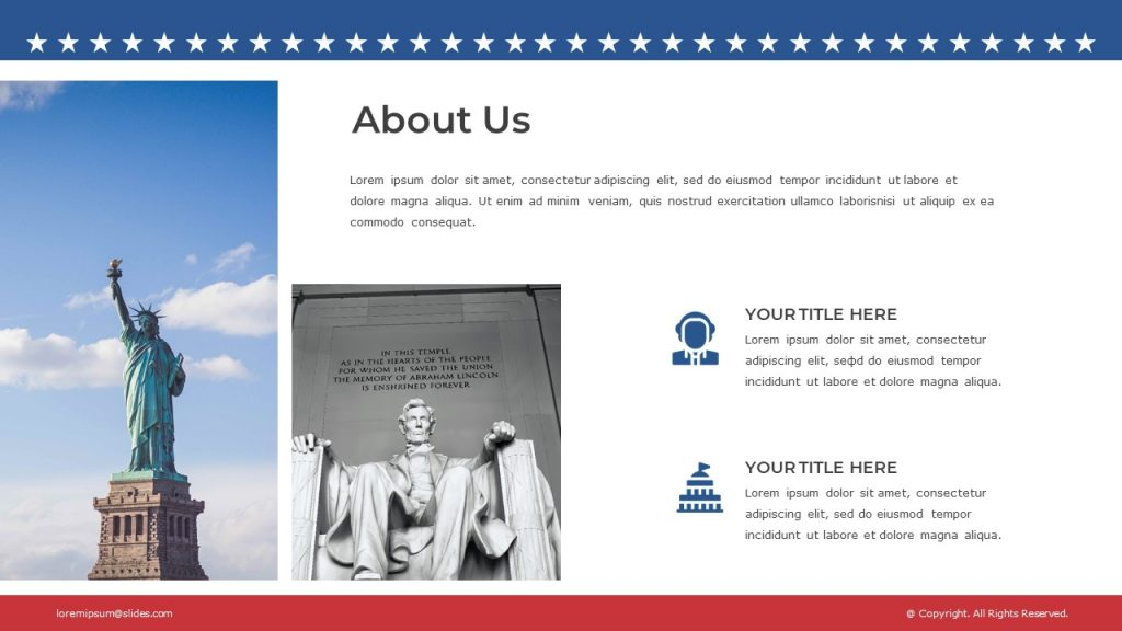 Statue of Liberty and Lincoln Memorial images, text box at the top, and 2 text boxes with icons.