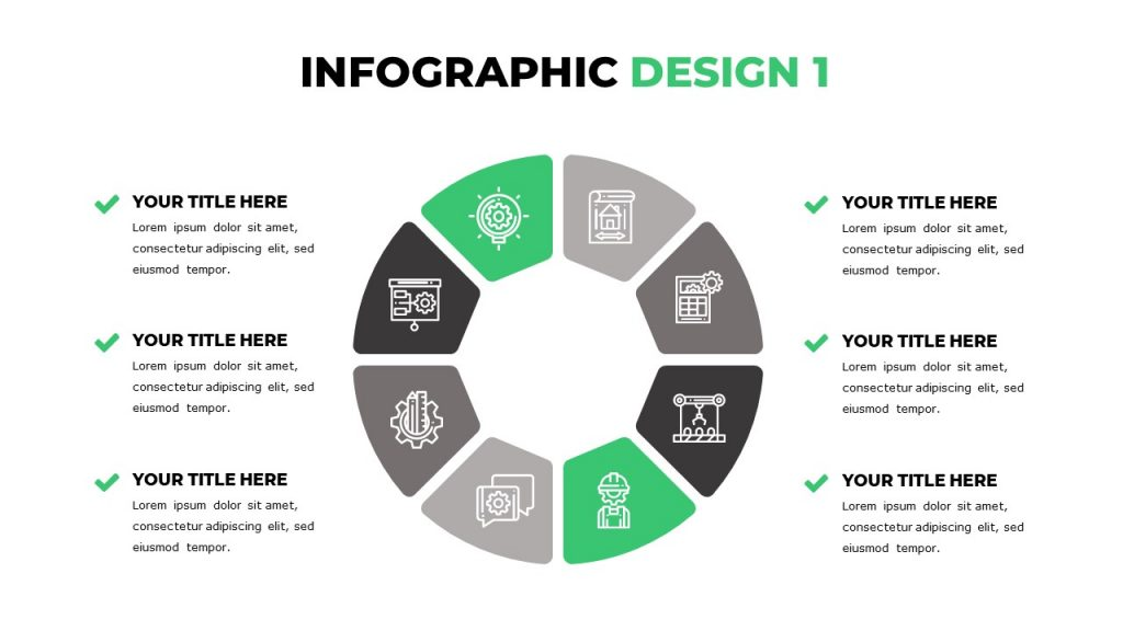 Slide with round infographics, each part of which is filled with icons, around it 6 text blocks.