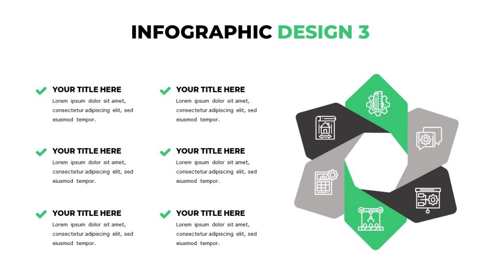 Circular infographics with icons inside, on the left 6 text blocks with titles.
