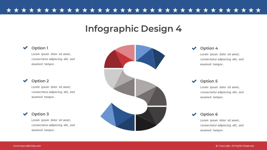 Another version of the slide with 6 blocks of text, and infographics that creates the letter S.