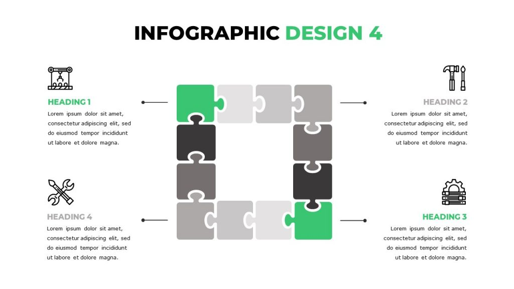 Slide with white background, 4 text boxes with black contoured icons, and a square infographics.