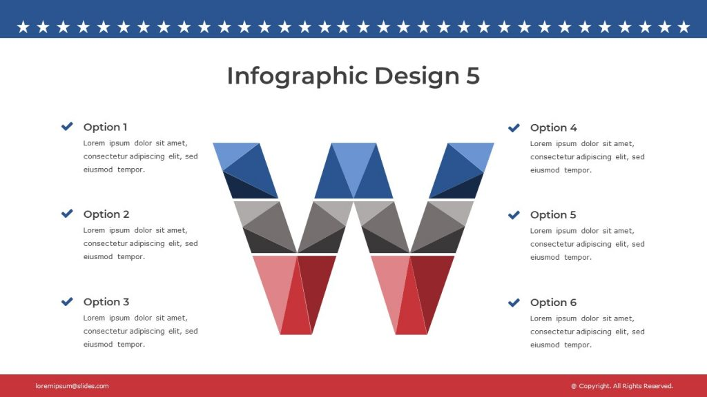 Stylish infographic slide with text blocks along the large colored letter W.