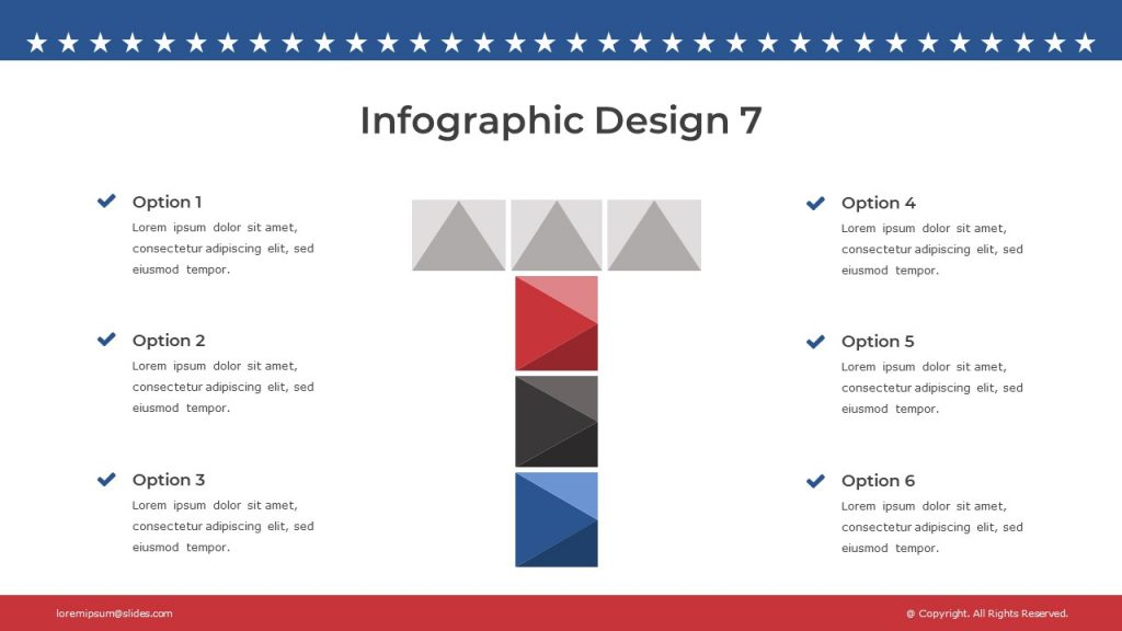 Infographic slide with content on white background, and the letter T with colorful cubes.