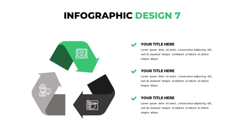 Infographics in green, gray and dark grey with icons on the left, 3 text blocks on the right.