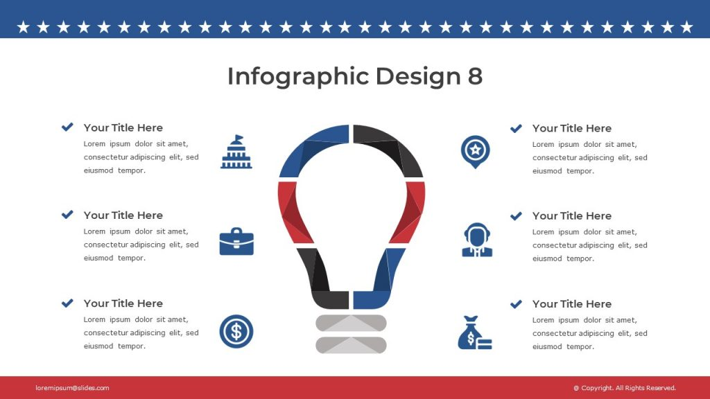 Stylish slide with icons for each text block, and color infographics.