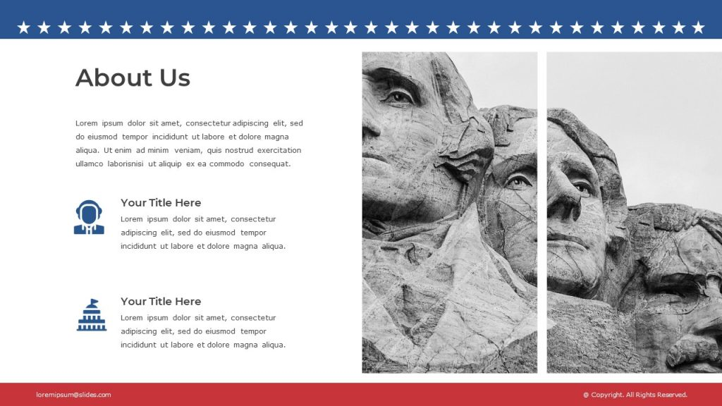 Sculptural portraits of three US presidents on the right and a text block with icons on the left.