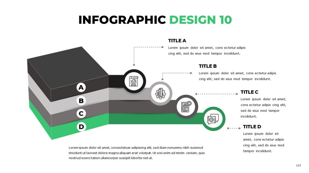 Unusual orbicular infographics with thematic colors and icon with text box near each sphere.