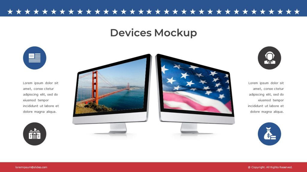 2 monitors with American flag and bridge in the middle, 2 text blocks and 4 icons around them.
