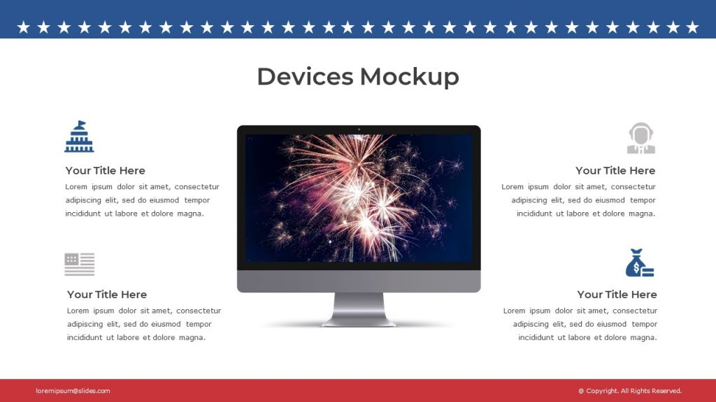 Monoblock image with fireworks, and 4 blocks with text and icons around it on a white background.