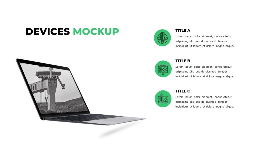 3 green round icons with text near each, and gray building image on a laptop.