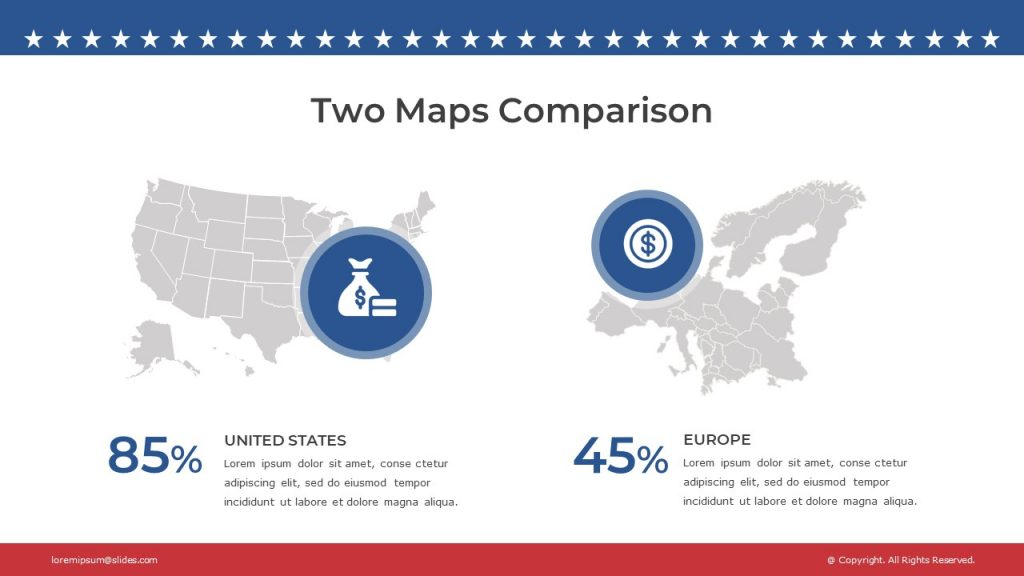 Slide with grey outlines of Europe and USA maps, and 2 text boxes under the comparison maps.