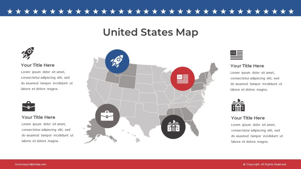 Gray map of the USA with marked icons, and text blocks around it.