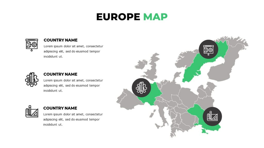Europe map with icons, text boxes with icons on the left.