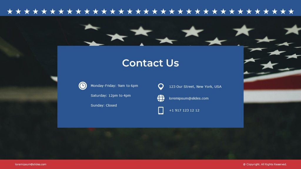 Final slide with contacts on the American flag background.