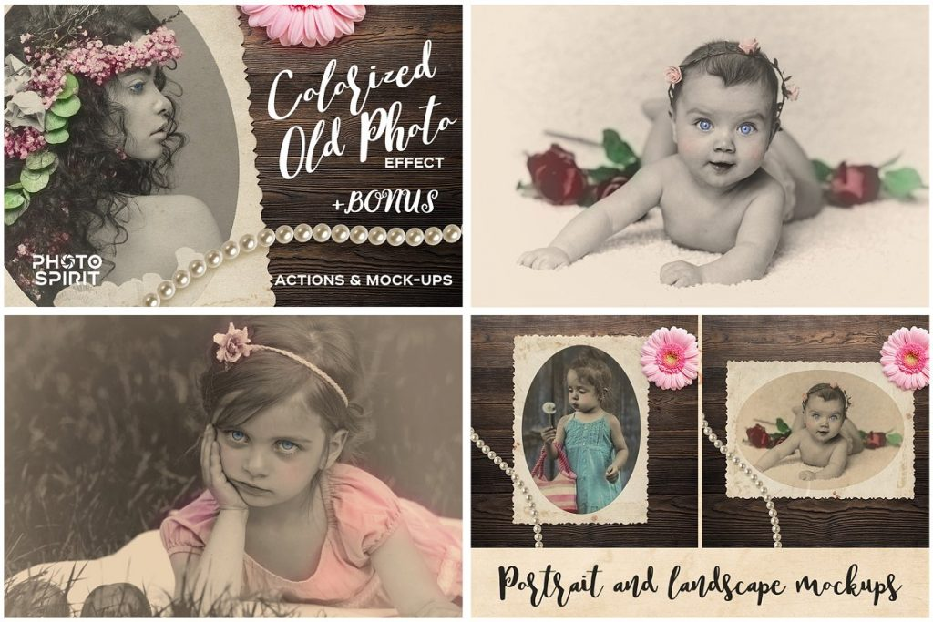 Vintage Photo Effects: 8-IN-1 BUNDLE - colorized old photo effect photoshop actions