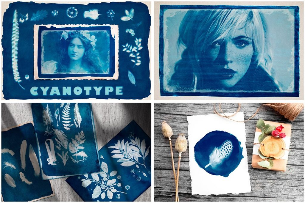 Vintage Photo Effects: 8-IN-1 BUNDLE - cyanotype blueprint photo effect for photoshop