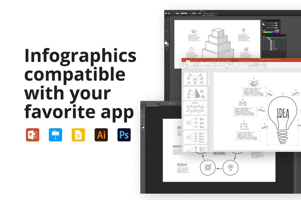 Doodle Presentation: 30 Infographics & Slides AI, PSD, EPS, KEY, PDF - features