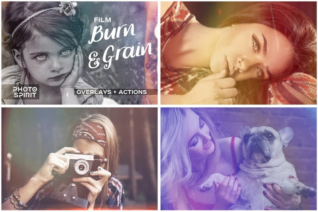 Vintage Photo Effects: 8-IN-1 BUNDLE - film burn and grain effect photo overlays and actions for photoshop