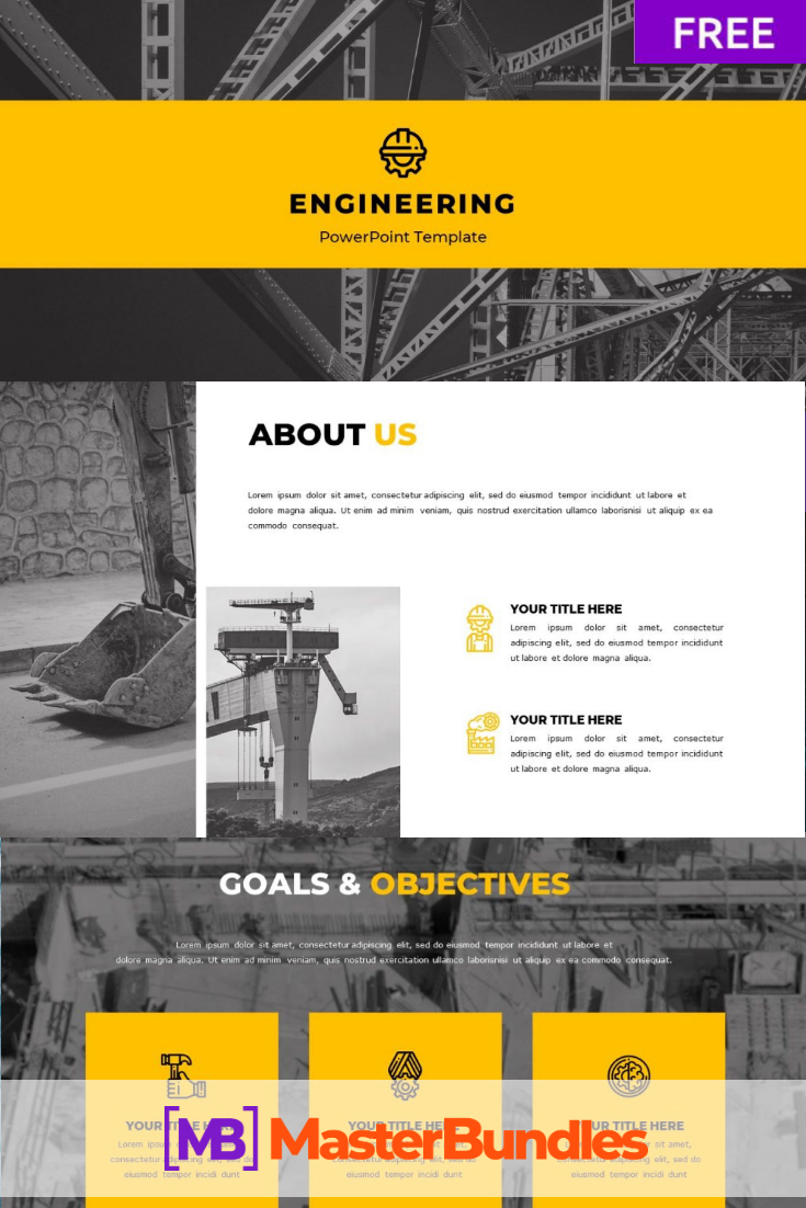 Free Engineering Powerpoint Template. Pinterest Image.