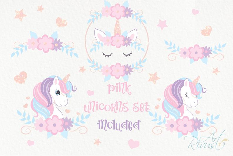 Unicorn Clipart PNG 2020: Cute Magic Birthday Party Graphic - il 794xN.2130021576 r721