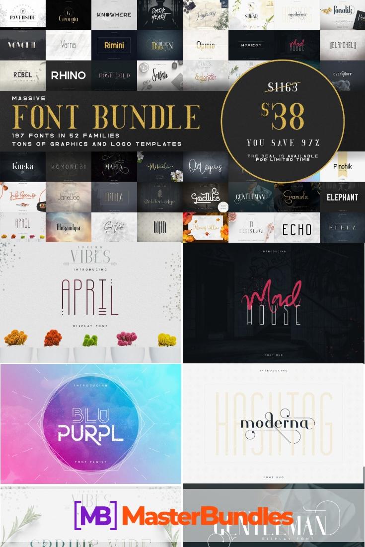 Massive Font Pack - 197 Fonts in 52 Font Families. Pinterest.