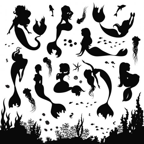 Free Mermaid Silhouette Set 2020 - mermaid00 490x490