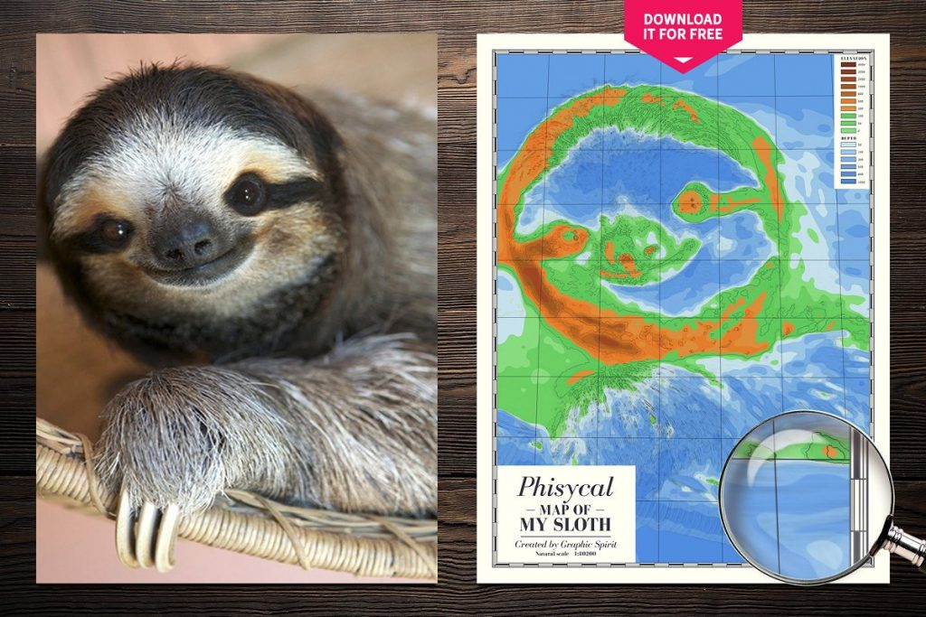 Photoshop Map Brushes & Temlates: IMAGE TO PHYSICAL MAP Converter 2020 - physical map of my sloth