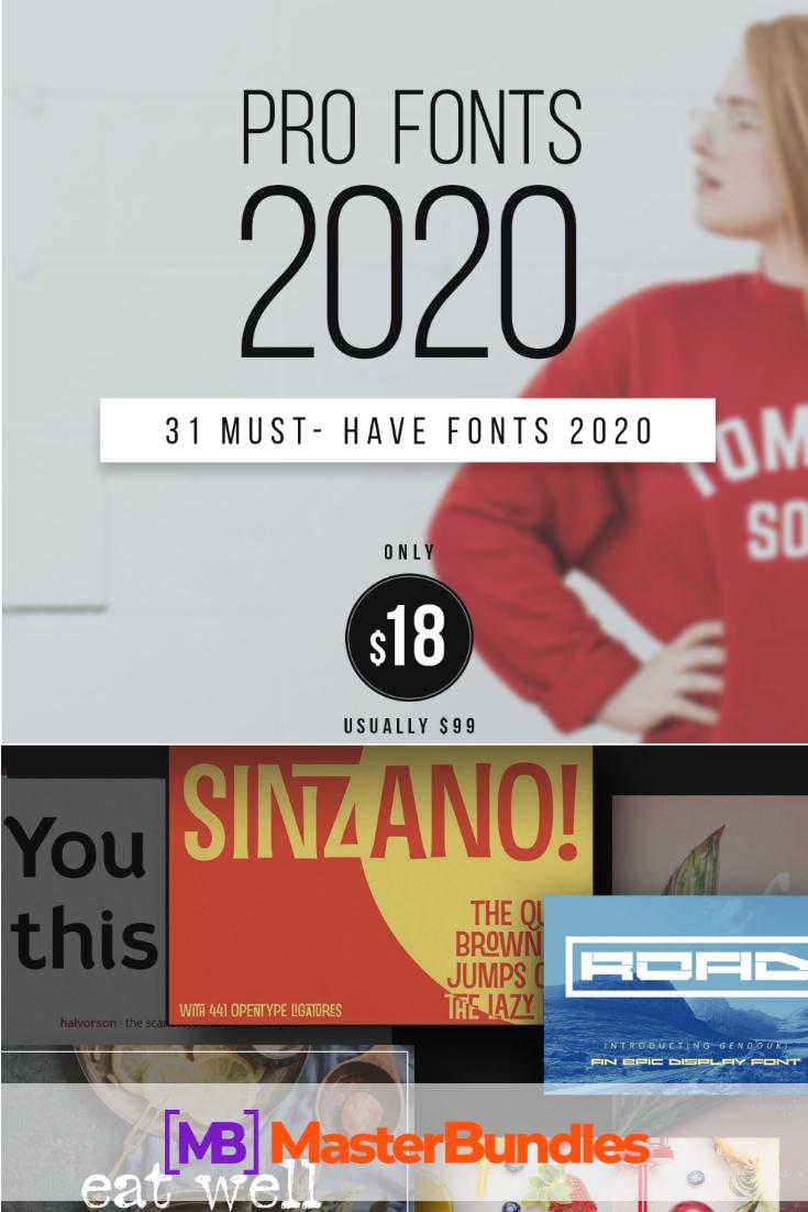 31 Professional Fonts: Bullet Journal Fonts Collection - only $18! - pro fonts bundle 2020 pinterest