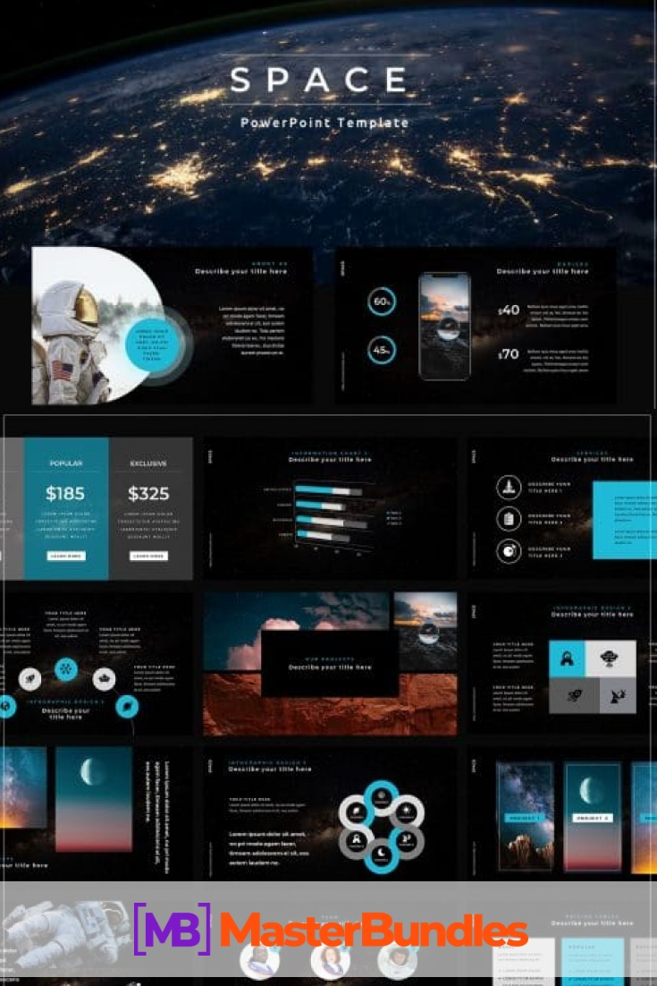 50 Slides Space Powerpoint Template. Pinterest.