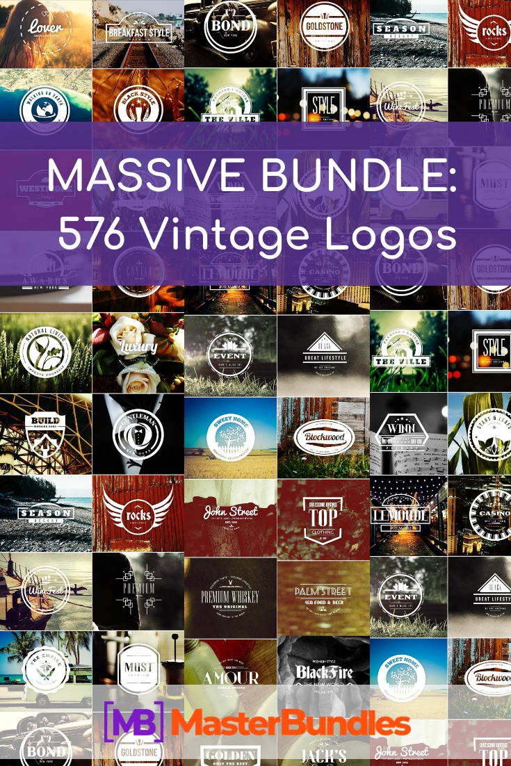 576 Vintage Logos MASSIVE BUNDLE - just $25 - vintage logos pinterest