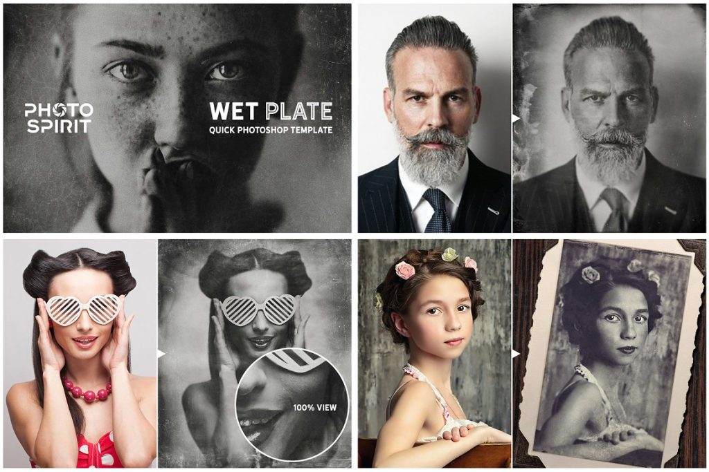 Vintage Photo Effects: 8-IN-1 BUNDLE - wet plate photoshop template view